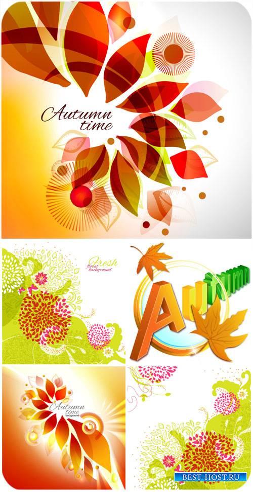 Осенние фоны с листьями и цветами, векторные фоны / Autumn background