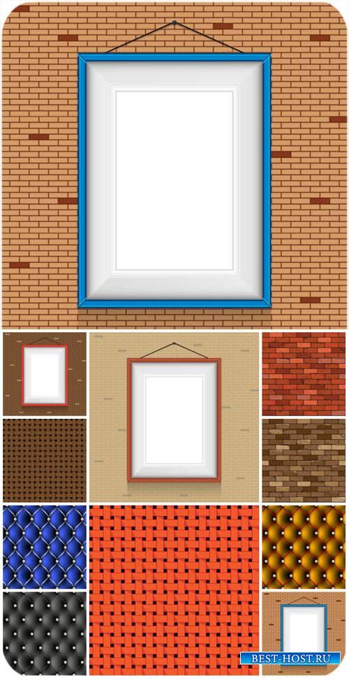 Фоны в векторе, кирпичные стены / Vector backgrounds, brick walls