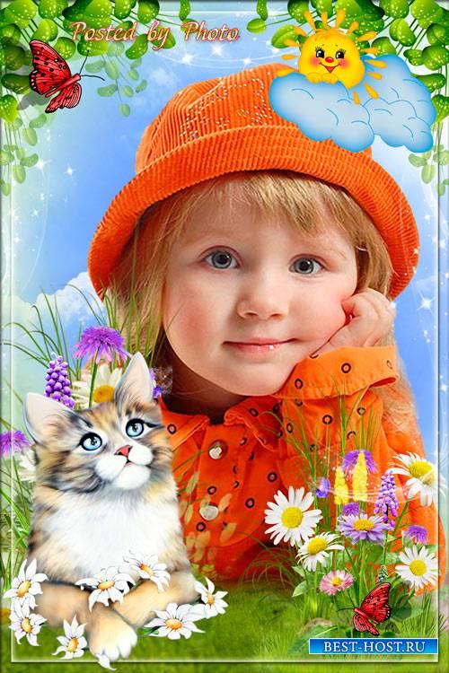 Детская рамка для фото - Ласковый котёнок
