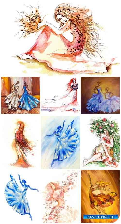 Арт графика, нарисованные люди / Art graphics drawn people - Stock Photo