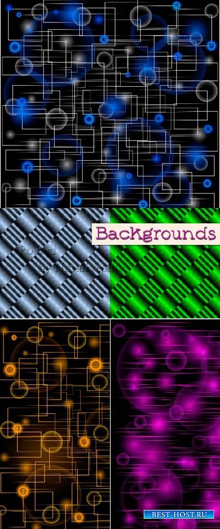 Абстрактные фоны с креативными  линиями и цветными бликами в Векторе