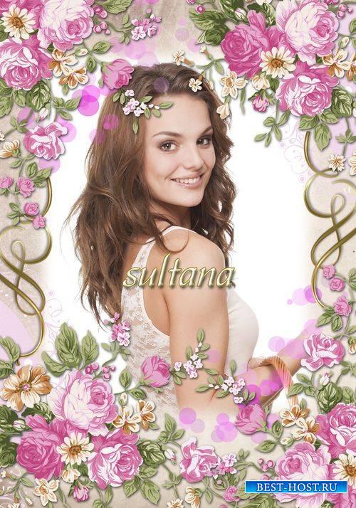 Женская цветочная рамка для фотошопа - Винтажные розы