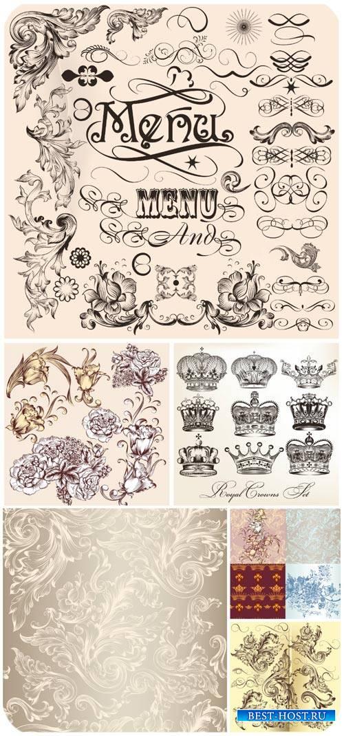 Декоративные элементы в векторе, фоны с узорами / Decorative elements vecto ...