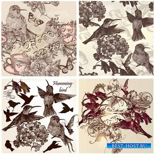 Живопись в векторе – Птицы в  винтажном стиле