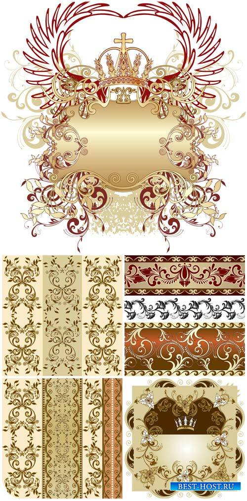 Золотые узоы, геральдические элементы в векторе / Golden patterns, heraldic ...