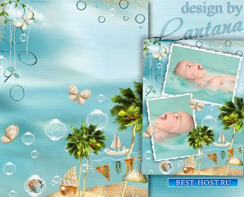 Детский PSD исходник с рамками для фото - Море и пальмы