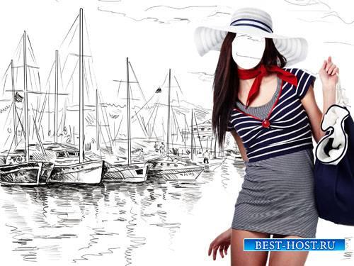 Шаблон для фотошоп - Нарисованные яхты и милая девушка