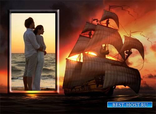 Рамка для фотошоп - Закат на море