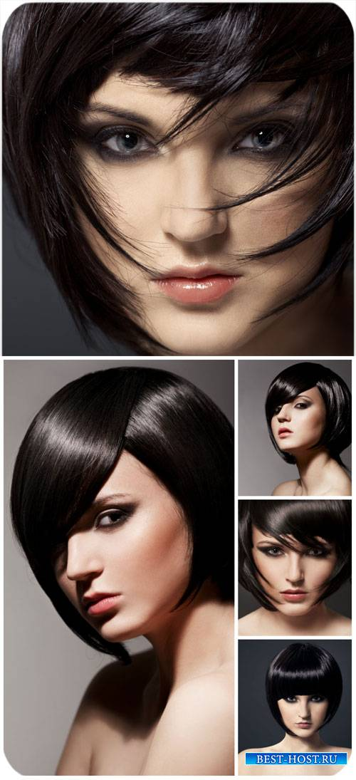 Брюнетка с короткой стрижкой / Brunette with short hair - Stock Photo