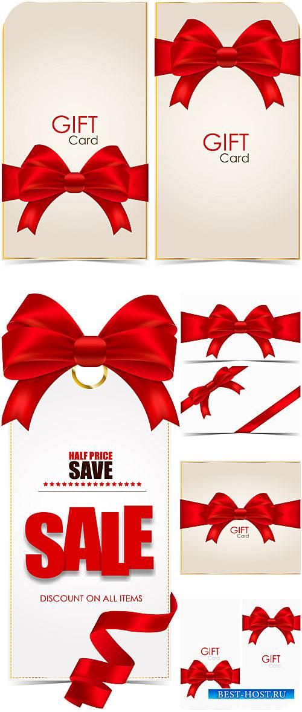 Подарочные векторные карточки с красными лентами / Vector Gift card with re ...