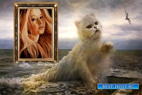 Кошка из волны - Рамка для фото