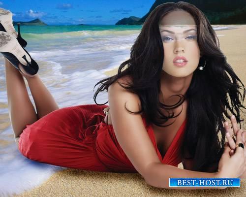 Шаблон для Photoshop - Девушка в красном платье на пляже