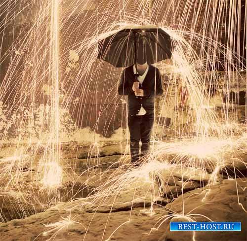 Мужской шаблон - Под огненным дождем