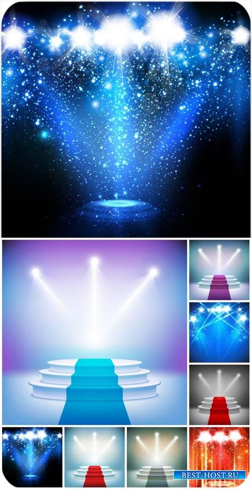 Сцена с прожекторами, сияющие фоны / Stage with spotlights shining backgrou ...
