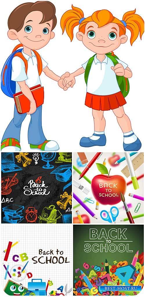 Школьники, векторные школьные фоны / Pupils, school vector backgrounds
