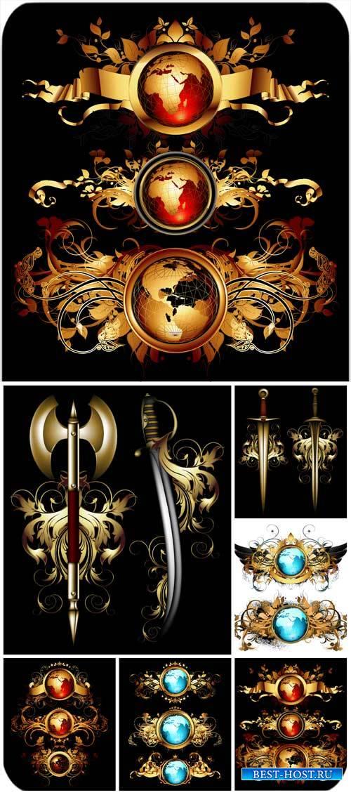 Старинные декоративные элементы в векторе / Vintage gold decorative element ...