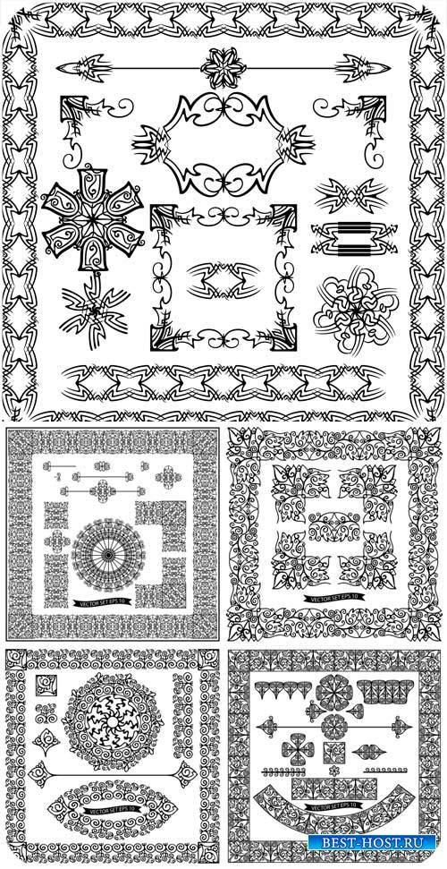 Орнаменты, винтажные рамки в векторе / Ornaments, vintage vector