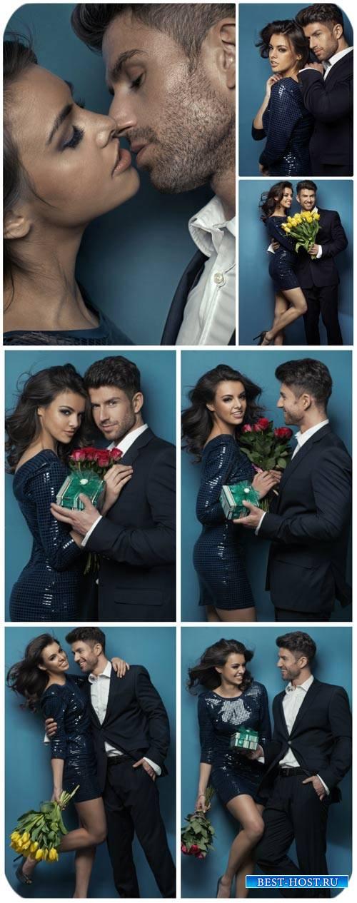 Влюбленная пара, девушка с цветами / Couple in love, girl with flowers - St ...