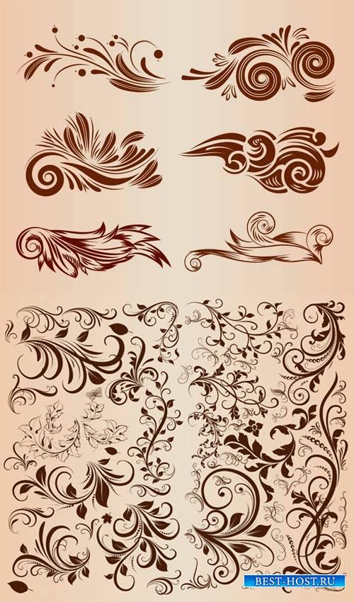 Векторные цветочные завитки для дизайна