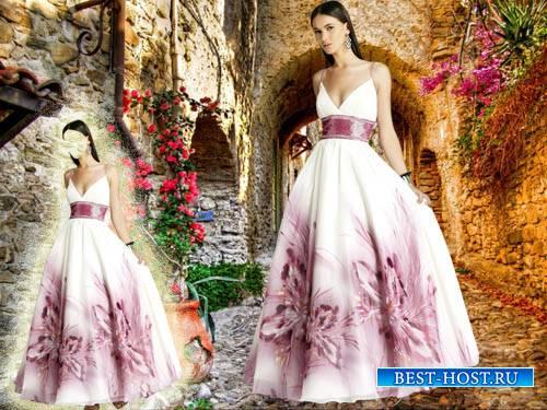 Женский шаблон - В прекрасном вечернем платье с цветочками