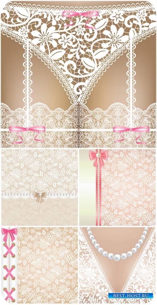 Векторные фоны с кружевами / Vector background with lace