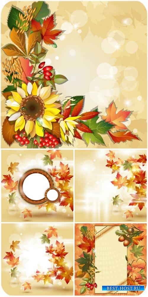 Осенние векторные фоны с подсолнухами и листьями / Autumn vector background ...