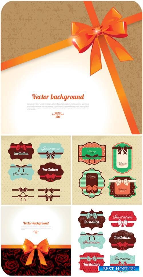 Винтажные этикетки, фоны в векторе / Vintage label, backgrounds vector