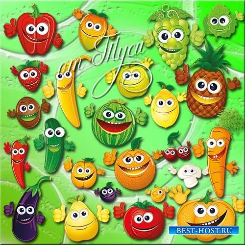 Детский клипарт - Фрукты и ягоды преображаются, и вот витамины уже улыбаютс ...