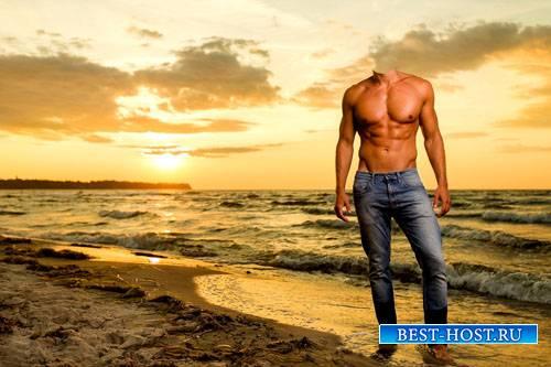 Мужской psd шаблон - Прекрасный закат на пляже