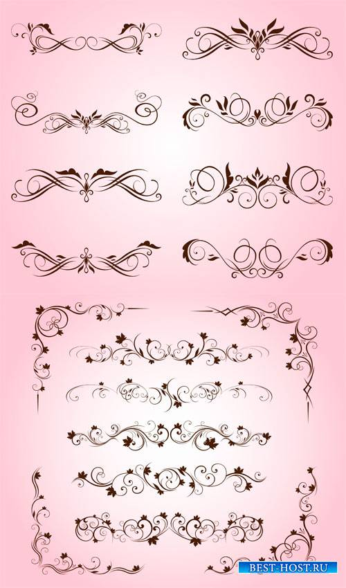 Цветочные декоративные элементы в векторном формате