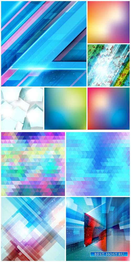 Абстрактные фоны в векторе, голубые оттенки / Abstract backgrounds in vecto ...