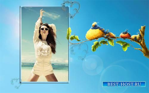 Рамка для фотошопа - Веселые птицы на ветке