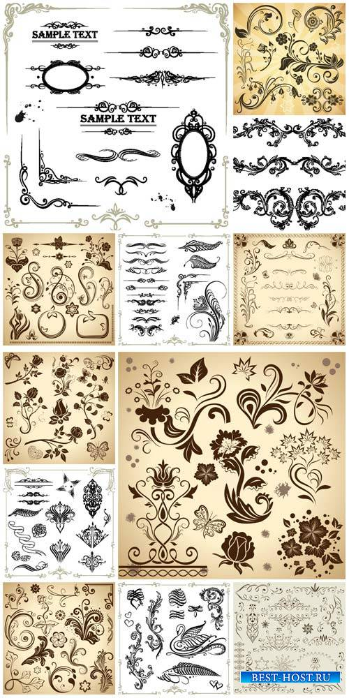 Дизайнерские элементы / Design elements, flowers and ornaments vector