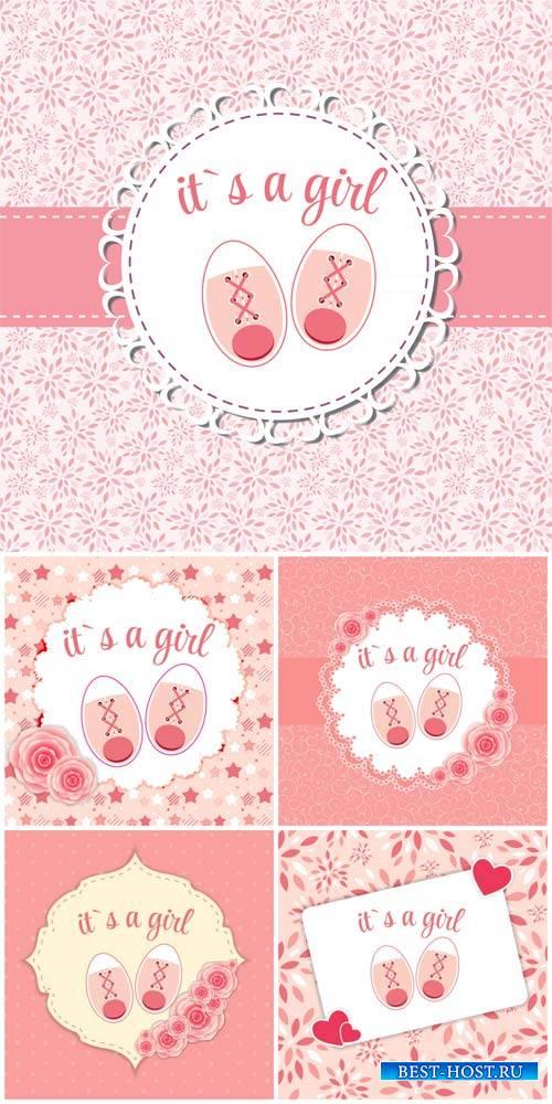 Детские векторные фоны для девочек / Baby vector backgrounds for girls