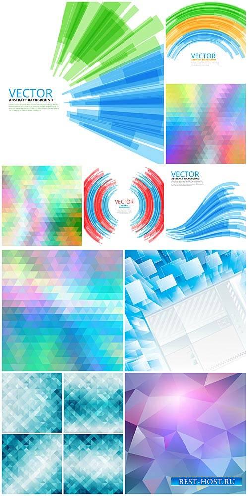 Векторные абстрактные фоны в синих и сиреневых тонах / Vector abstract back ...