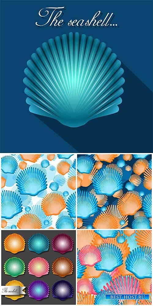 Векторные фоны с ракушками, морские фоны / Vector Background with seashells ...