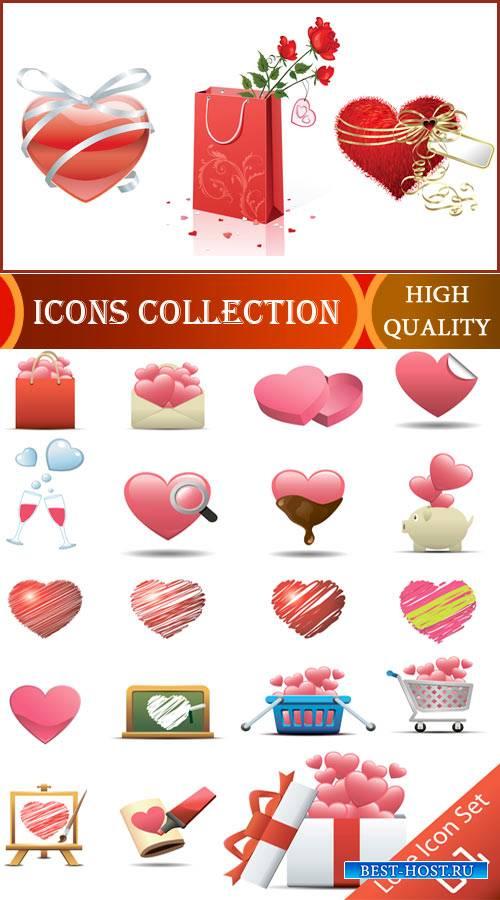 Любовь и романтика - Векторные иконки