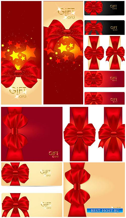 Векторные фоны и карточки с красными лентами / Vector backgrounds and cards with red ribbons