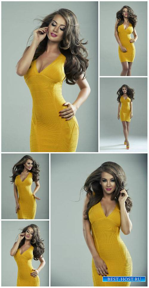Девушка в желтом платье, мода / Girl in a yellow dress, fashion - Stock Pho ...