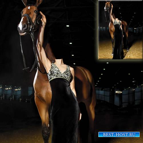 Шаблон psd женский - В черном вечернем платье с лошадью