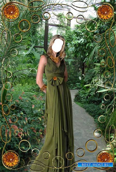 Шаблон Девушка в оранжерее