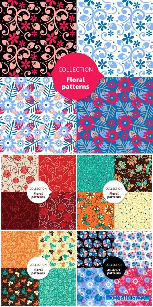Цветочные текстуры, векторные фоны с узорами / Floral texture vector
