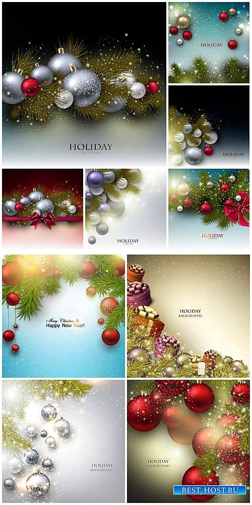 Новогодний вектор, праздничные фоны / Christmas vector, holiday background