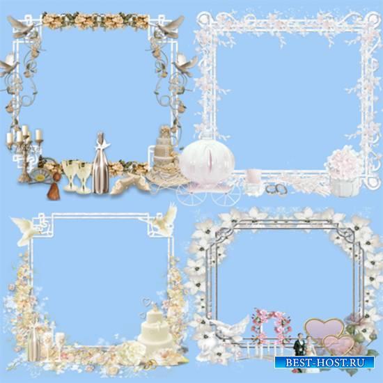 Клипарт - Свадебные рамки - кластеры