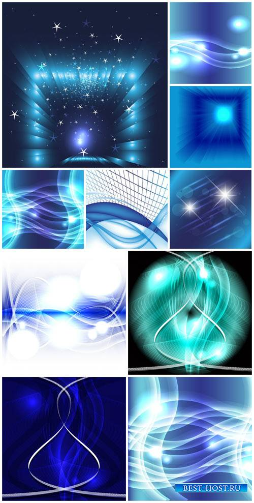 Абстрактные векторные фоны / Abstract vector backgrounds, blue backgrounds