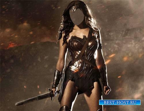 Шаблон psd - Девушка воин с мечом