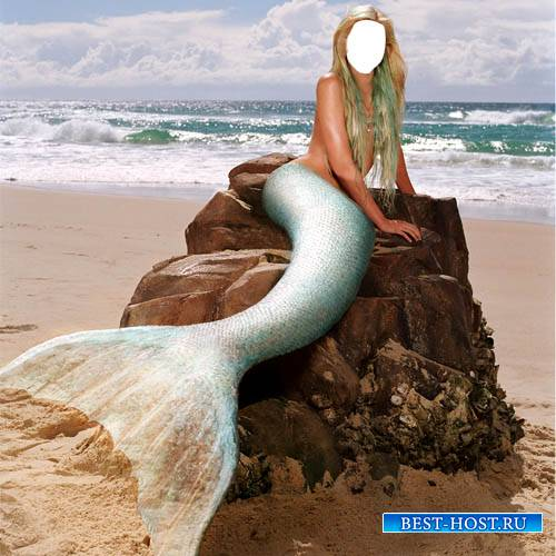 PSD шаблон для девушек - Русалка у моря на камне