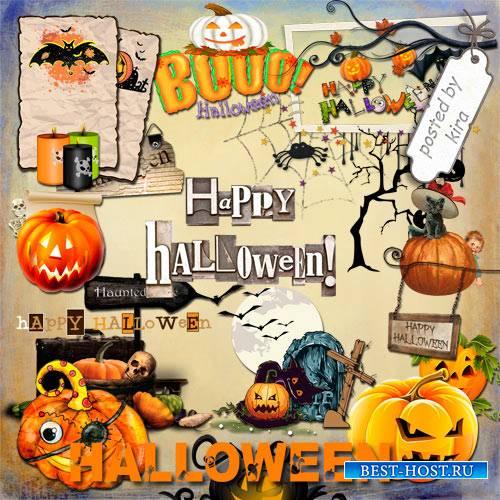 Клипарт  к празднику Хэллоуин - Элементы оформления, надписи и тыквы