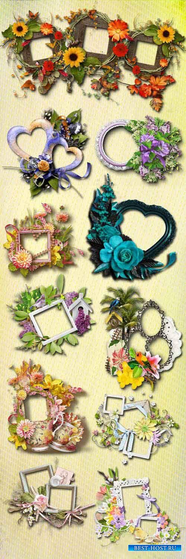 Цветочный скрап-набор - Цветочные рамки и кластеры