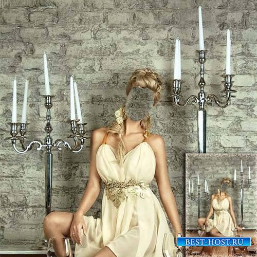 Шаблон psd - Девушка в кремовом платье